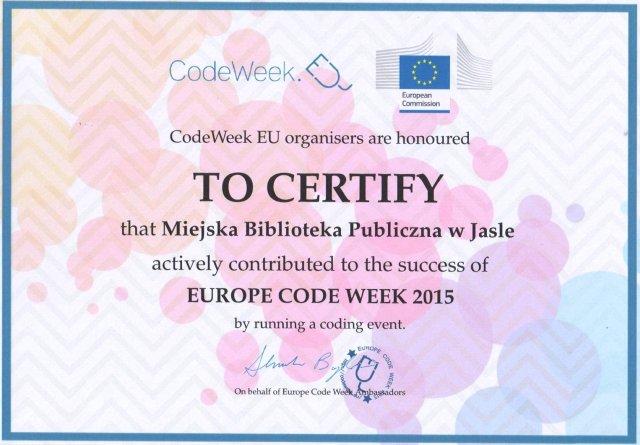 Jasielska Biblioteka z certyfikatem Code Week 2015
