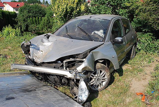 Peugeotem zatrzymali się na drewnianym domku
